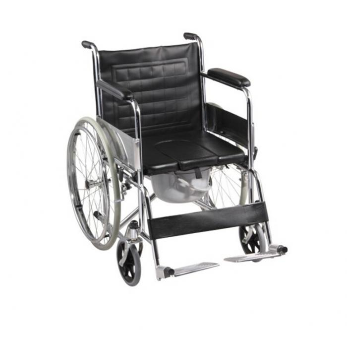 Commode Wheelchair with Detachable Arms and Footboard